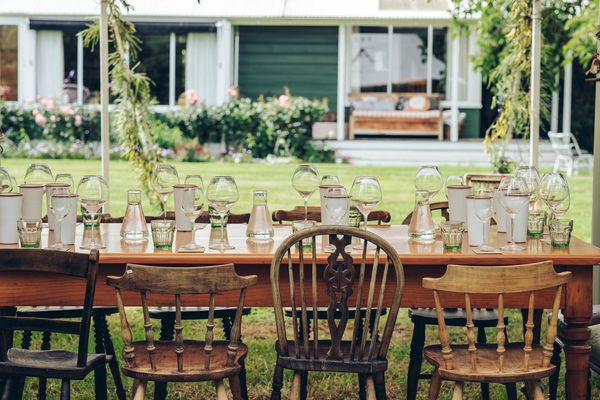 Table set for outdoor winetasting at Astrolabe Farm.