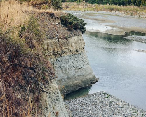 The soil profile of the south bank of the Awatere river.