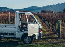 A farm vehicle at Comelybank vineyard.