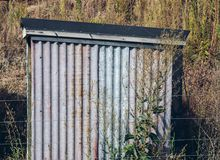A tin shed at Little Oasis vineyard.