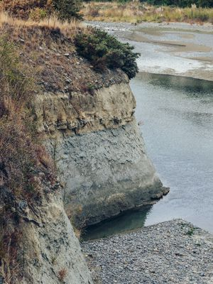 Soil stratification on the riverbank at an Awatere valley vineyard.