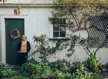 Jane Forrest-Waghorn in front of the old shearing shed at Astrolabe Farm.